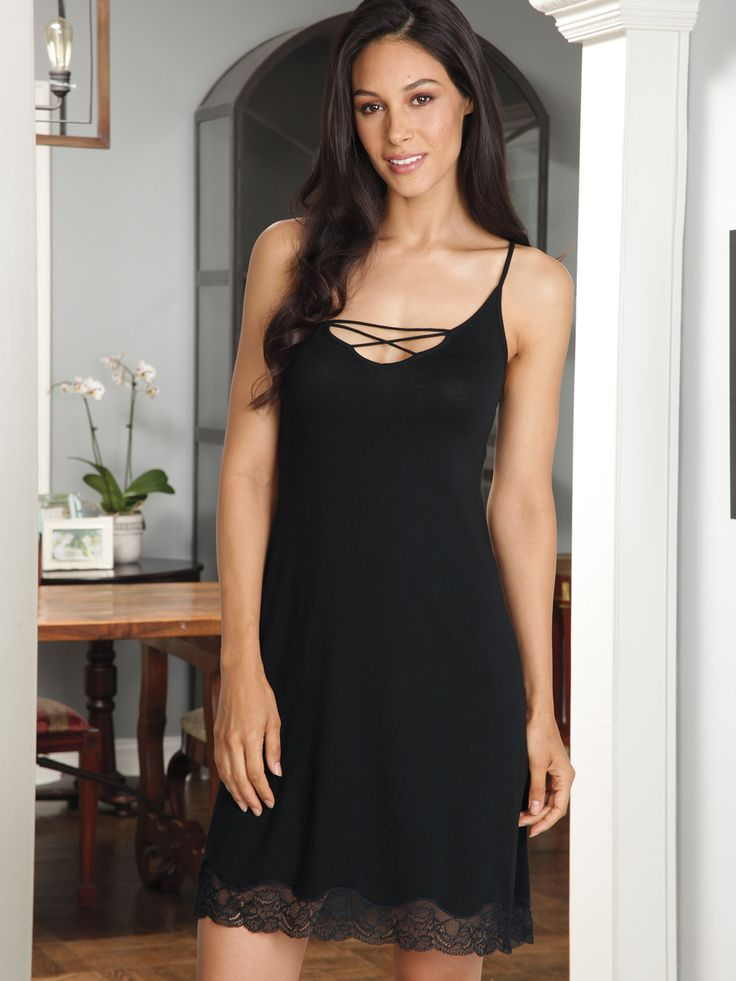 Hope - Luxury #Nightwear - Schweitzer Linen  In Peru, we instantly fell in love with the simple elegance of this #Pima cotton/modal #chemise and you will too. The unforgettable crisscross design on the chest demands attention and inspires devotion. Slender spaghetti straps sit comfortably atop shoulders accentuating their beautiful bareness. And just as every last gorgeous detail of this bewitching Black gown is taken in, the classical baroque curves of darling lace surrounding the hem ...