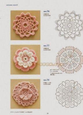 Flores tejidas al crochet con esquemas   Crochet y Dos agujas