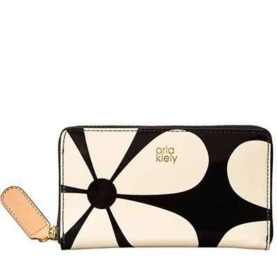 Orla Kiely Snowdrop Printed Patent Leather Big Zip Wallet