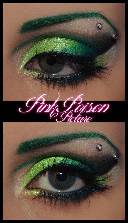 i like all of this. the piercing, the green, the eyebrow.