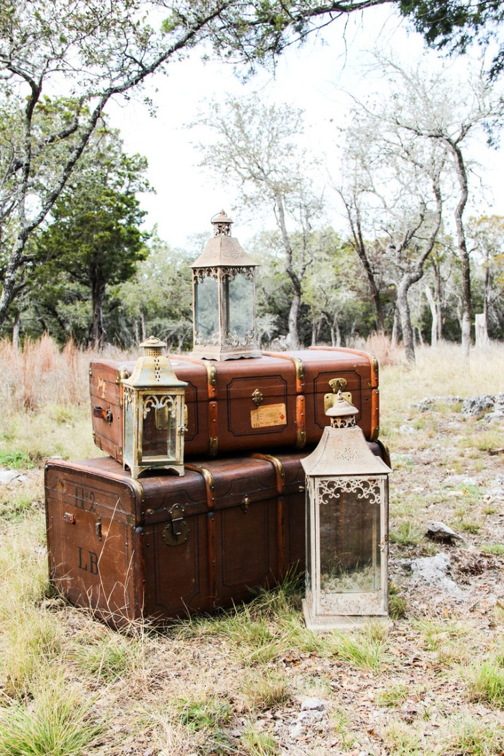 gorgeous luggage and lantern vintage photography props www.revivevintagerentals.com