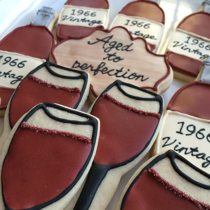 "wine glass cookies, wine bottle cookies, decorated cookies, 50th birthday party  ""Cheers to 50 years"""