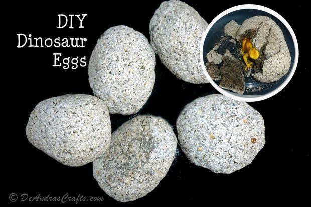 DIY Dinosaur Eggs - Coffee grounds, flour, sand, salt & water. So fun for the kids to open!
