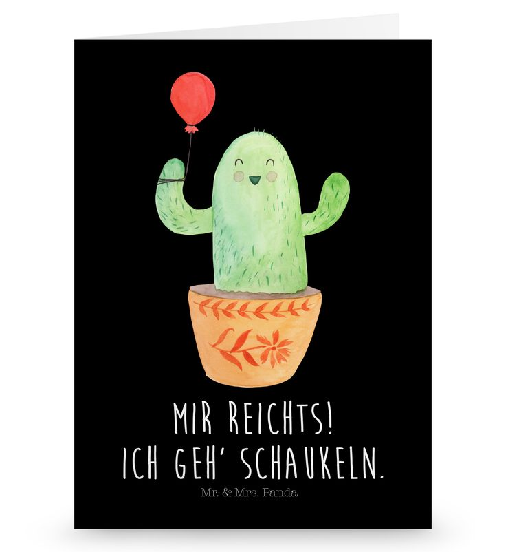 Grußkarte Kaktus Luftballon aus Karton 300 Gramm  weiß - Das Original von Mr. & Mrs. Panda.  Die wunderschöne Grußkarte von Mr. & Mrs. Panda im Format Din Hochkant ist auf einem sehr hochwertigem Karton gedruckt. Der leichte Glanz der Klappkarte macht das Produkt sehr edel. Die Innenseite lässt sich mit deiner eigenen Botschaft beschriften.    Über unser Motiv Kaktus Luftballon  Sommer, Sonne, Sonnenschein! Da darf natürlich der Kaktus nicht fehlen... Mrs. Panda zeichnete die Kakteen…
