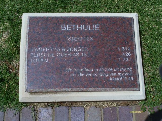 Geni Photos from Anglo Boere Oorlog/Boer War (1899-1902) BETHULIE Kamp/Camp Kinders 15 & jonger 1 311 Persone ouer as 15 426 Totaal 1 737 Die trane loop in strome uit my oe oor die vernieting van my volk. Klaagl. 2:43