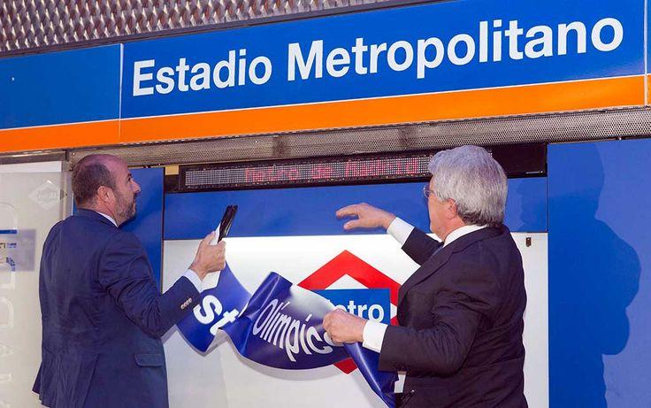 Pedro Rollán, y el presidente del Atlético de Madrid, Enrique Cerezo, han presentado hoy el nuevo nombre de la estación de Metro Estadio Metropolitano.