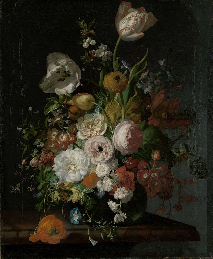 Stilleven met bloemen in een glazen vaas, Rachel Ruysch, ca. 1690 - ca. 1720