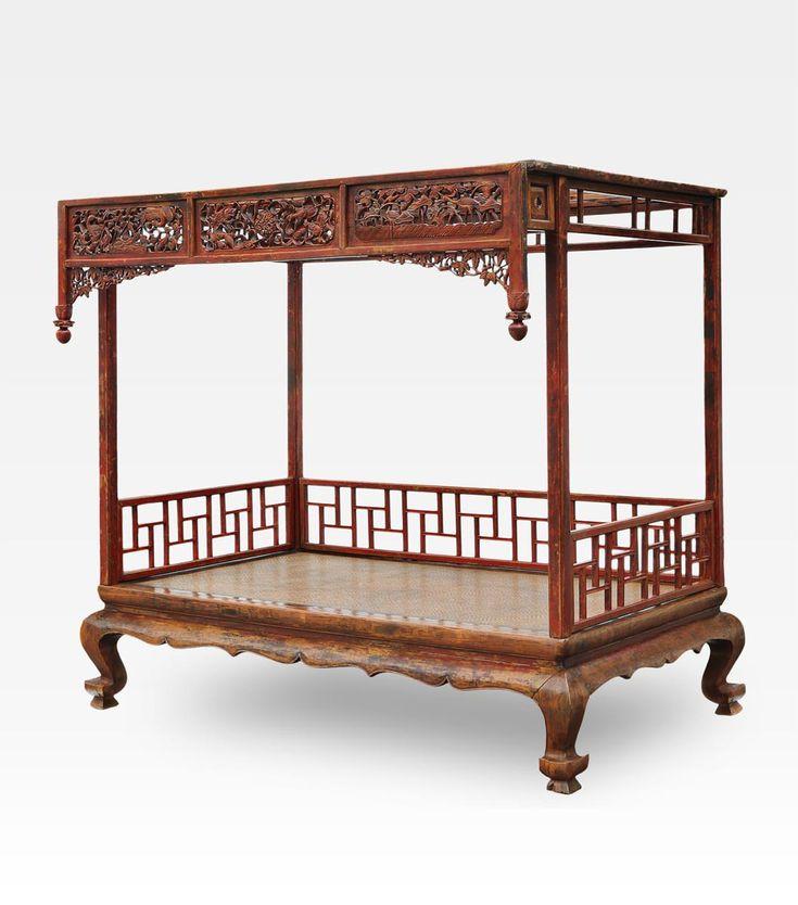 Antico letto cina h 215 cm l 241 cm p 152 cm - Letto a baldacchino antico ...