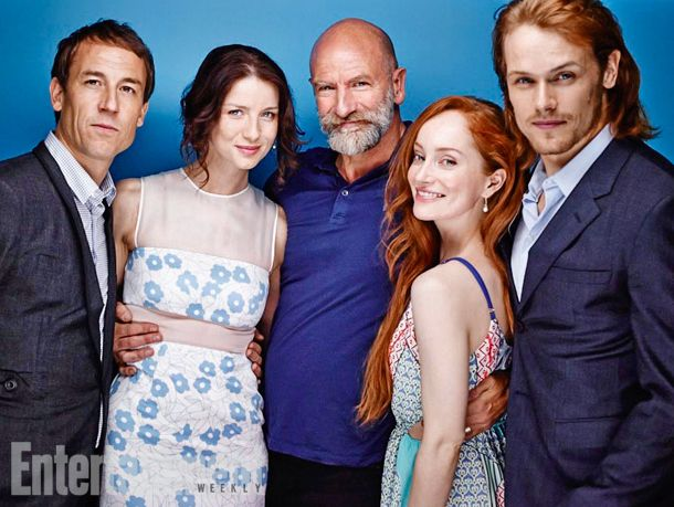 From left to right: Tobias Menzies, Caitriona Balfe, Graham McTavish, Lotte Verbeek and Sam Heughan.