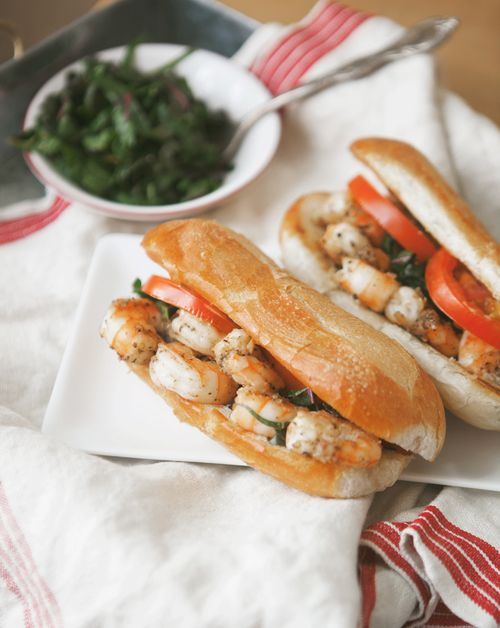 Sautéed Shrimp Po Boy with Chard Slaw + Old Bay Remoulade