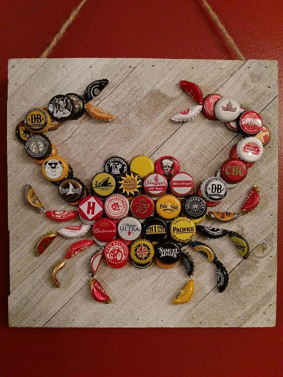 Corona Beer Bottle Cap Crab Etsy Bottle Cap Crafts Beer Cap Crafts Bottle Cap Art