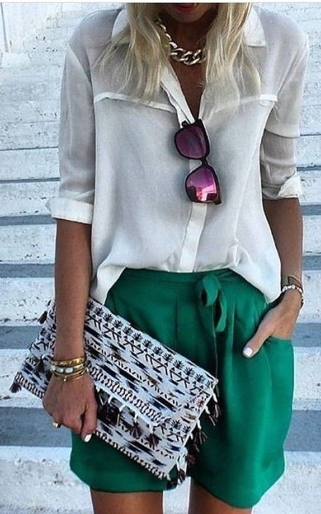 #summer #chic #classy #outfitideas    White + Green