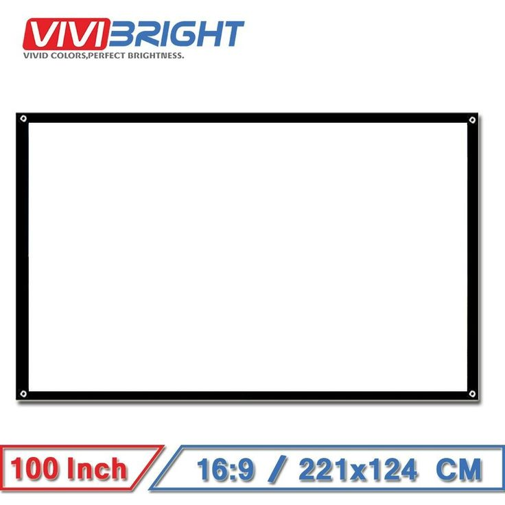 VIVIBRIGHT 100 inch 16:9 Portable Projector Screen, Matt White Screen for Home theater, Travel. Support LED Projector #portableprojectorscreen