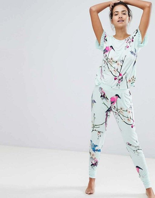 cda2861fb65 B By Ted Baker Flight Of The Orient Mint Printed Pajama Set ...