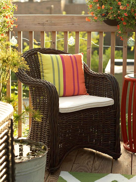 Maximize space on a small deck or patio by placing furniture around the perimeter. This will free up floor space at the center and create more standing room.