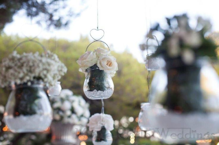 Hang flowers in trees over your dinner table. Wedding by Monte-Carlo Weddings.