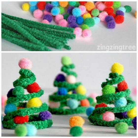 Pipe cleaner/pompoms Christmas trees