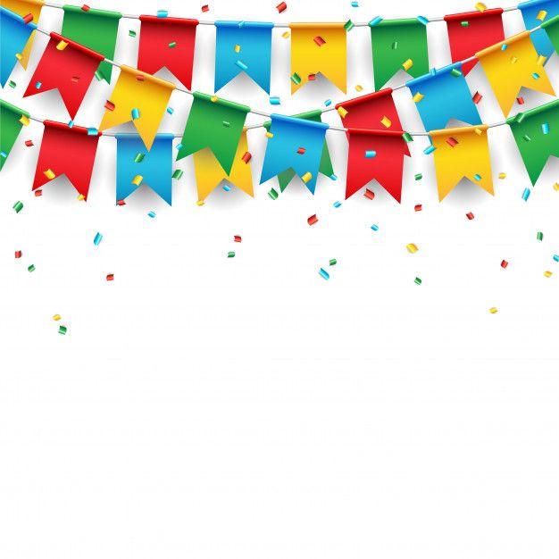 Party Celebration Flag On White Background Birthday Background Design Birthday Background Celebration Background
