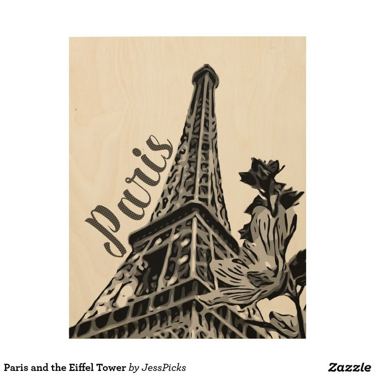 Paris and the Eiffel Tower Wood Wall Art
