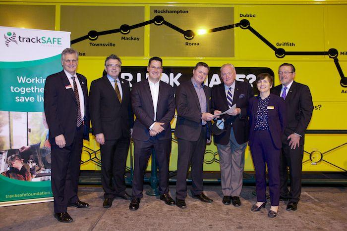 TrackSAFE Directors and RUOK? GM Brendan Maher with Ambassador Zed Seselja celebrating the partnership and signed MOU