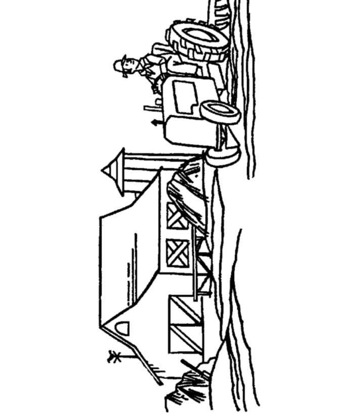 farm vehicles coloring page simple farmer and tractor