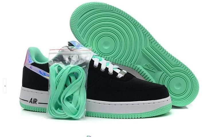 Nike Air Force I 1 Womens Shoes Black Green