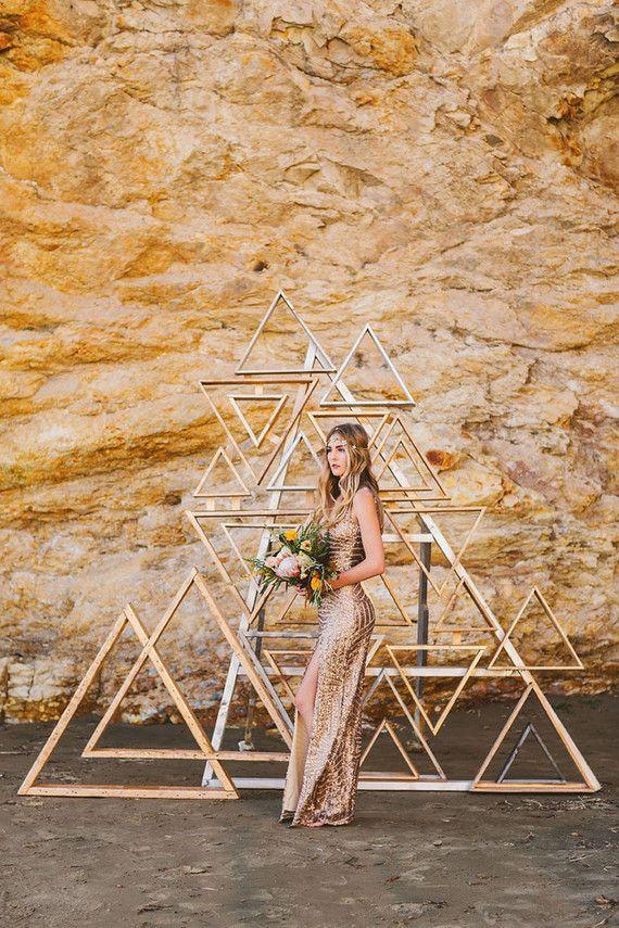 Metallic wooden triangle backdrop | Wedding & Party Ideas | 100 Layer Cake