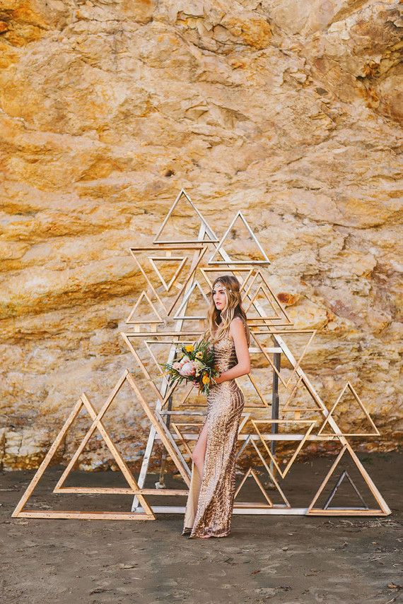 Metallic wooden triangle backdrop | Wedding & Party Ideas | 100 Layer Cake