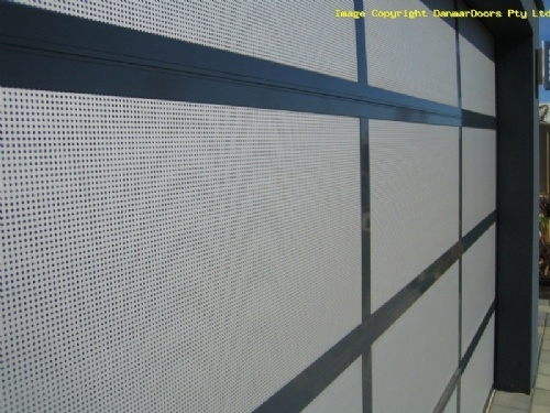 18% Perforated mesh insert garage door close up