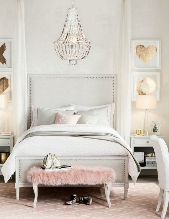 Grey, blush and gold bedroom. Modern bedroom design for teenagers.