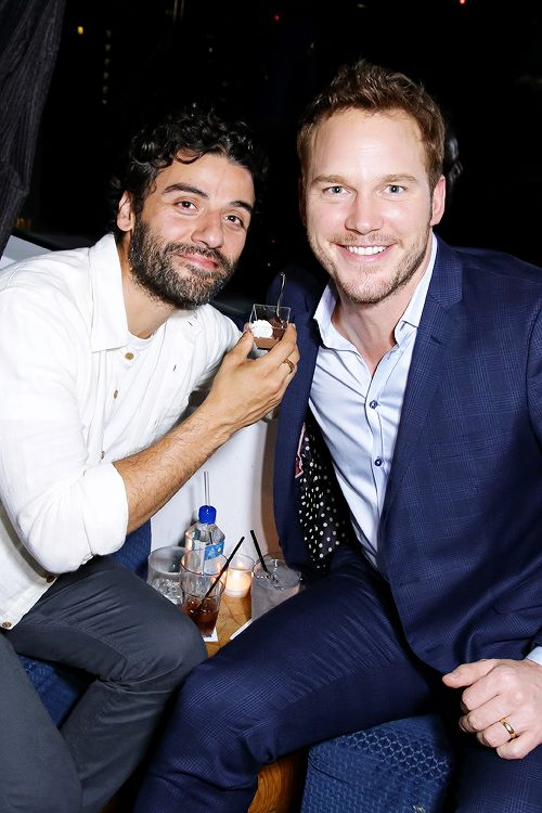 Chris Pratt and Oscar Isaac attend The Cinema Society with Men's Fitness and FIJI Water special screening of Marvel's 'Guardians of the Galaxy' after party at The Jimmy at the James Hotel on July 29, 2014 in New York City.