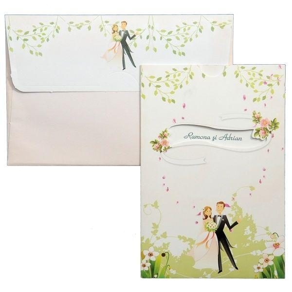 Invitatie de nunta romantica alba cu design floral verde si cei doi miri.