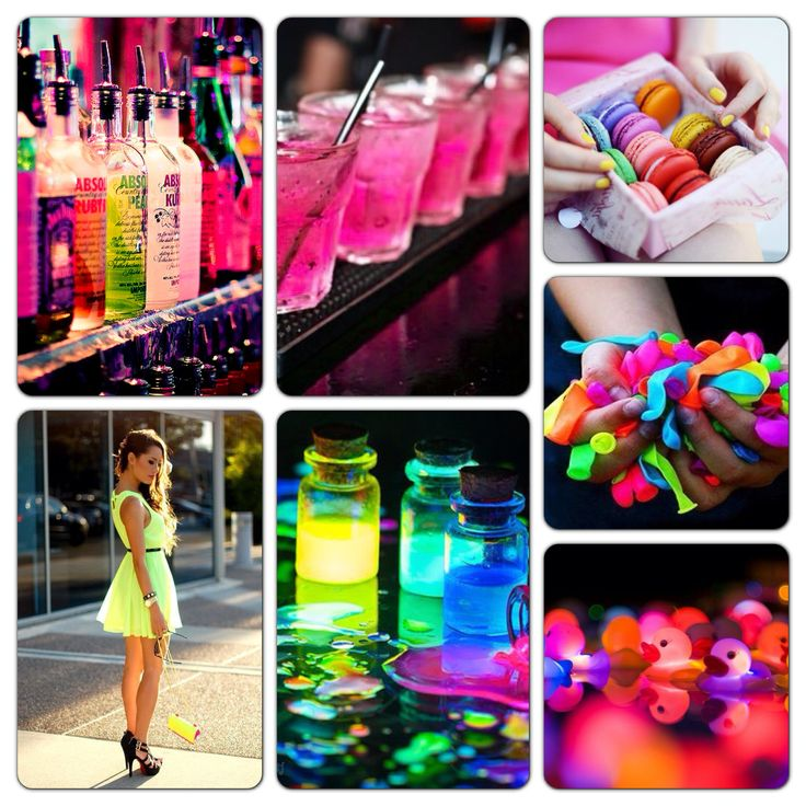 My neon party theme board neon pinterest neon party for 15th birthday party decoration ideas