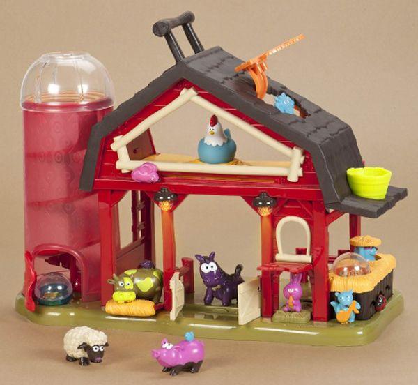 Музыкальная ферма Battat     На этой удивительной ферме творятся самые настоящие чудеса!Спрячьте за ворота фигурки коровы, свинки, овечки и лошадки и смотрите, что произойдет, а точнее слушайте, как они поют. На игрушку записано четыре мелодии, которые играют в зависимости от того, какая зверюшка окажется за дверьми фермы. Вниз по трубе катятся два шара и вылетают через открывающиеся воротики. Божья коровка движется вперед-назад по зигзагу, дверки амбара открываются-закрываются, мельница…