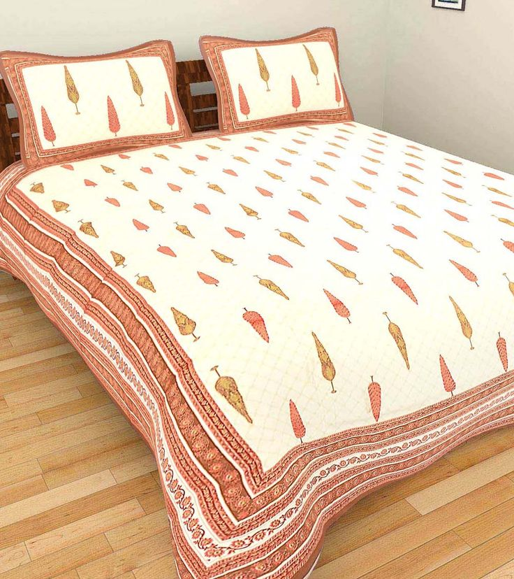 Red Hand Block Printed Cotton Double Bed Linen With Two Pillow Covers #indianroots #homedecor #bedlinen #pillowcover #cotton #blockprint #printed