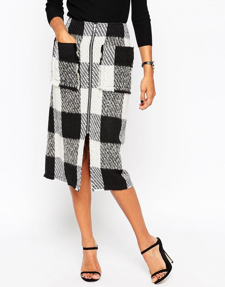 Image 4 of ASOS Midi Skirt in Wool Mix Check With Zip Front