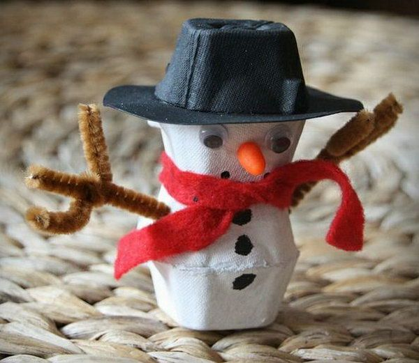 Egg carton snowman. Add charm to any Christmas tree or gift box, and make charming and thoughtful holiday presents for friends and family members.