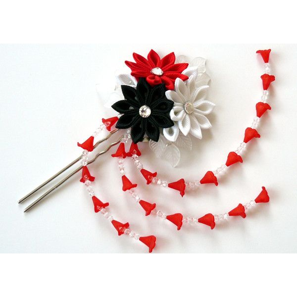Kanzashi fabric flower hair fork. Kanzashi flower hair U pin. Japanese... ($19) ❤ liked on Polyvore featuring accessories, hair accessories, flower hair pins, red hair pins, flower hair accessories, red hair accessories and white hair accessories