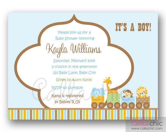 Jungle Animals Train Baby Shower Invitation PRINTABLE by CallaChic, $14.00