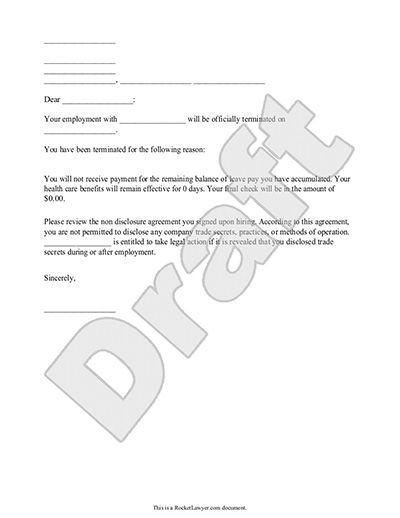 Termination Letter for Employee Template (with Sample) - employment termination letter