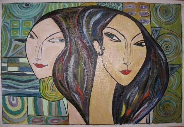 Raamwerk met twee zussen