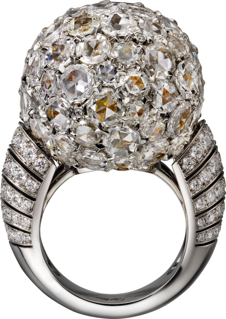 """CARTIER. """"Paillettes Solaires"""" - Ring - platinum, yellow gold, rose-cut diamonds, yellow, orange and white brilliant-cut diamonds. #Cartier #CartierMagicien #HauteJoaillerie #FineJewelry #Diamond"""