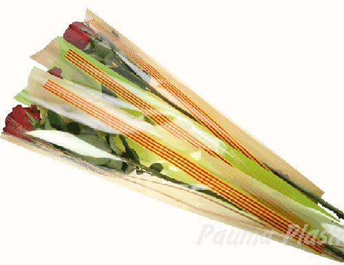 Bolsa Senyera Sant Jordi CLASIC-70 Fondo Varios Colores 6x18x65 1000 unidades.  BOLSAS PARA SANT JORDI, bolsa cono para la rosa se Sant Jordi, bolsas con bandera catalana, bolsa con Senyera per la rosa, bolsas con bandera andorrana, cono para la diada, bolsas de celofan para flores, bolsa para Sant Jordi personalizadas. BOLSAS PARA LA ROSA DE SANT JORDI AL MEJOR PRECIO