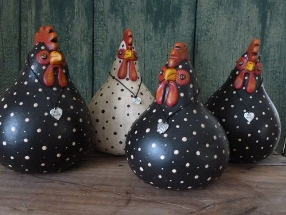 Polka dot gourd hens with heart pendant by ...