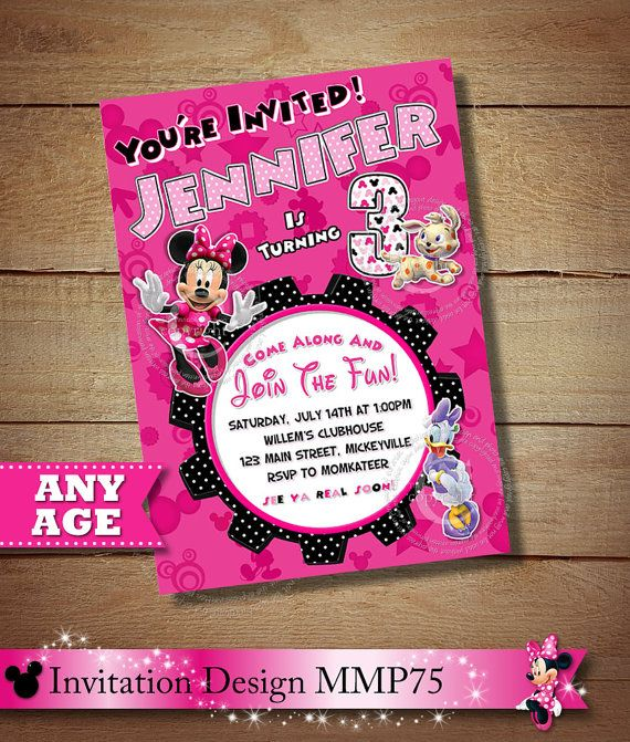 Pink Toodles Minnie Mouse Daisy Duck Birthday Invitation OhToodles The Printab