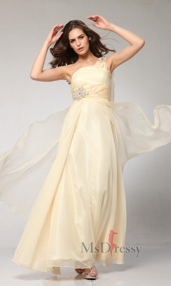 A-line One Shoulder Ankle-length Chiffon Junior Prom Dress
