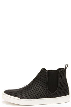Steve Madden Elvinn Black Perforated Slip-On Sneakers