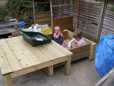 This is an awesome sandbox with an integrated table/lid