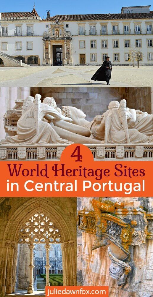 #UNESCO World Heritage Sites in Central #Portugal #traveltips #heritage #travel Four historical monuments covering 900 years of Portuguese history and culture. Get tips for visiting the University of Coimbra, Batalha Monastery, Alcobaça Monastery and the Convent of Christ in Tomar.