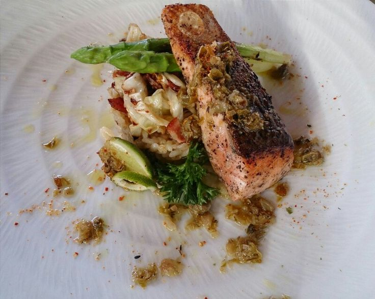 Pan Seared Salmon with Coriander Risotto,  Capers,  and Asparagus  From Gong Restaurant at The Santai Villas, Umalas,  Bali,  Indonesia.